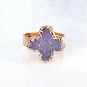 Gold-plated genuine agate druzy ring